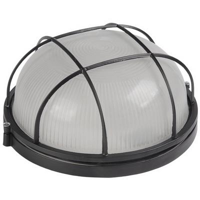 Светильник ИЭК ЖКХ НПП1102, черный, круг с решеткой 100Вт IP54