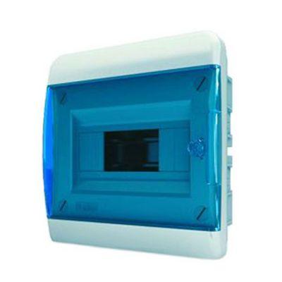 Щит встраиваемый Tekfor 8 модулей IP41, прозрачная синяя дверца серии В